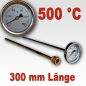 Preview: Backofenthermometer 500°C mit Tauchrohr 300 mm